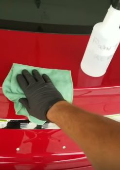 Ceramic Car Coating Paint Protection Detail With Wiping Down Entire Exterior With Ceramic Specialized Prep Spray